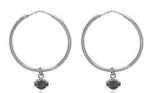 EARRINGS  Harley-Davidson ®  Sterling Silver  45 mm Hoop Earrings  With Double Sided Logo - Product Image