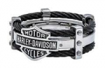 Harley-Davidson ®  Steel Black Cable  Men's Ring  Available in Sizes 8-13 - Product Image