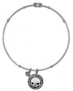Legends Charm  Bangle Bracelet  Harley-Davidson ®  and Mod ®  Stainless Steel  Ladies Scripted  Willie G Skull  - Product Image