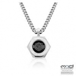 Harley-Davidson ®  Stainless Steel  Hexagon Logo Necklace  Curb Link  by MOD ® - Product Image