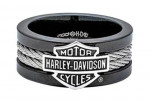Harley-Davidson ®  Black Stainless Steel Cable  Men's  Wedding Band  Available in Sizes 9-14 - Product Image