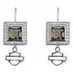 EARRINGS  Harley-Davidson Women's  Black Ice Square Crystal  by Mod ® - Product Image