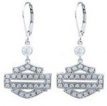 Harley-Davidson ® Women's  Sterling Silver Bling Outline Dangle Earrings by Mod ® - Product Image