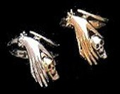 Ladies Hand Skull Ring 14K Gold and Sterliing Silver - Product Image