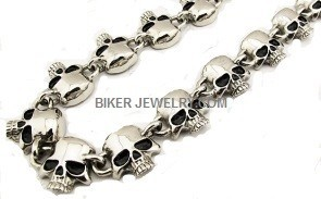 Stainless Steel Biker Skull Necklace5 Lenghts FREE SHIPPING - Product Image