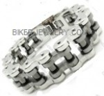 3/4  inch Wide  Two Tone  Black / Stainless  Biker Chain Bracelet  3 Sizes  for Men  FREE SHIPPING - Product Image