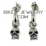 EARRINGS  Dangling Skull  Stainless Steel  Biker  FREE SHIPPING - Product Image