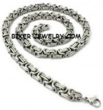 Stainless Steel  10mm Byzantine Necklace  24 Inches  FREE SHIPPING - Product Image