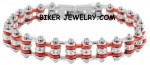 Ladies Mini  Chrome and Red  Stainless Steel  Bling Motorcycle Bracelet with Crystals  FREE SHIPPING - Product Image