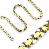 "OUT OF STOCK  Stainless and Gold Designer Link Necklace  24""  FREE SHIPPING - Product Image"