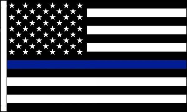 "3"" x 2"" Black / White AMERICAN FLAG /Blue Strip - Product Image"