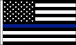 "3"" x 2"" Black / White AMERICAN FLAG /Blue Strip - Product Image"