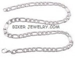 NEW MATTED LOOK  Stainless Steel  Figaro Link Necklace  FREE SHIPPING - Product Image