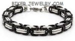 7mm Byzantine  Black an Chrome  Stainless Steel  Bracelet  2 Sizes  FREE SHIPPING - Product Image