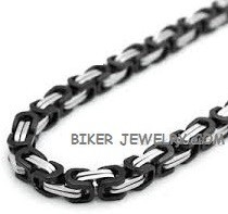 Black an Chrome   7mm Byzantine Link  Stainless Necklace  4 Sizes  FREE SHIPPING - Product Image