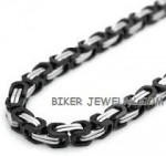 Black and Chrome  7mm Byzantine  Stainless Steel Necklace  FREE SHIPPING - Product Image