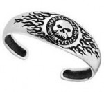 CLOSEOUT  Harley-Davidson®  by Mod®  Men's or Women's  Sterling Silver  Willie G Skull Flame  Cuff Bracelet - Product Image