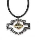 Harley-Davidson®  Sterling Silver  & Marcasite  Open Space Dangle  Bar & Shield Necklace  by the Franklin Mint - Product Image