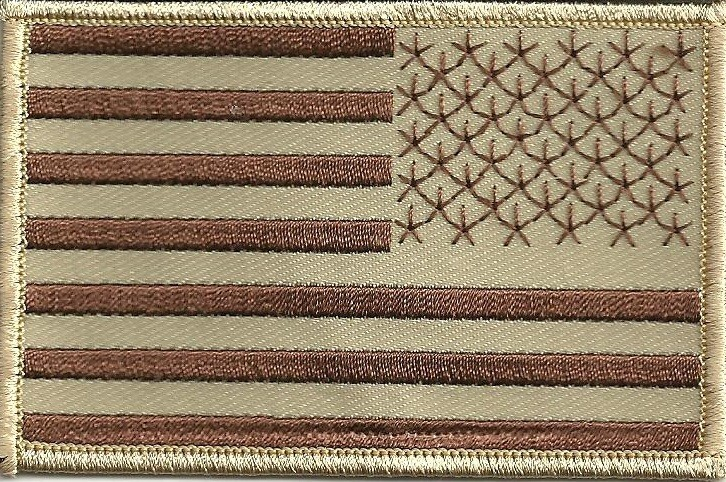 """Desert Tan Military FlagMilitary Patch2 1/2 """" x 3 1/2 """"FREE SHIPPING - Product Image"""