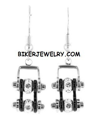 EARRINGS  Ladies Mini  Stainless Steel  Chrome/Black  Bling Motorcycle Bike Chain  FREE SHIPPING - Product Image