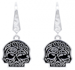 EARRINGS  Mod Jewelry® and Harley-Davidson® Ladies Paisley Sugar Skull Skull Sterling Silver - Product Image