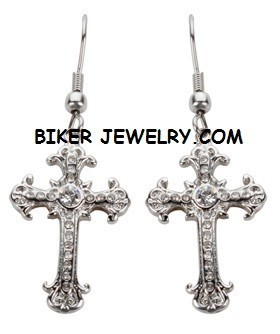 EARRINGS  Stainless Steel  Dangleing Bling Cross  FREE SHIPPING - Product Image