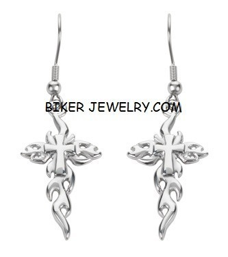 EARRINGS  Stainless Steel  Flaming Cross  FREE SHIPPING - Product Image