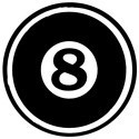 EIGHT BALL  Motorcycle Helmet Sticker Round - Product Image