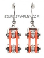 Earrings  Motorcycle  Bike Chain  Stainless Steel  Chrome / Orange  FREE SHIPPING - Product Image