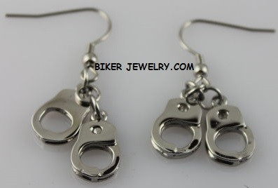 Earrings  Stainless Steel  Small Double Dangling  Handcuff Design  FREE SHIPPING - Product Image