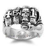 FTW Stainless Steel Fist Biker RingSizes 8-16 FREE SHIPPING - Product Image