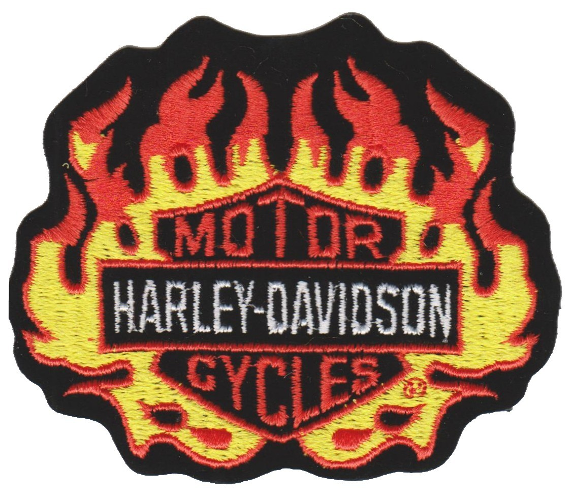 "Flaming Harley-Davidson ® Harley ® Patch3 1/2 "" x 3""FREE SHIPPING - Product Image"
