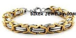 Gold /Chrome  Stainless Steel  9mm Byzantine Bracelet  2 Lengths   FREE SHIPPING - Product Image