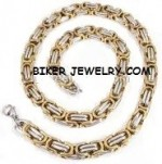 Gold /Chrome  Stainless Steel  9mm Byzantine Necklace  3 Lengths   FREE SHIPPING - Product Image