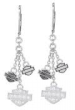 Harley-Davidson ®  Sterling Silver  Ladies Trio Bling Earrings - Product Image