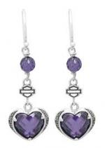 Ladies Harley-Davidson ®  Sterling Silver  Purple Heart Dangle Earrings  - Product Image