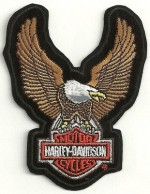 Harley-Davidson ® Brown Up-Wing Eagle HD Bar & Shield LogoHarley ® PatchAvailable in 2 Sizes FREE SHIPPING - Product Image