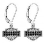 Ladies Harley-Davidson ®  Black & White Bling Dangle Earrings  in Sterling Silver  by Mod ® - Product Image