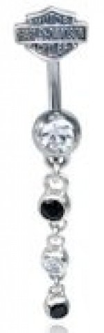 Harley-Davidson ®  Dangling Black and Clear  Ladies Navel Ring  Body Jewelry - Product Image
