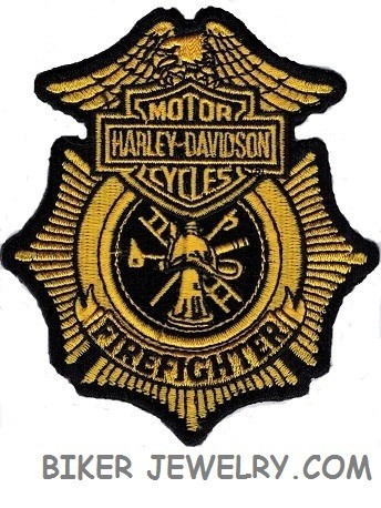 """Harley Davidson ® Firefighter  Harley ® Patch  4"""" x 3 1/2 """"  FREE SHIPPING - Product Image"""