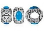 RIDE BEAD  Harley Davidson ®/MOD ®  Bar and Shield with Turquoise  Sterling Silver Ride Bead  Does fit Pandora  ® - Product Image