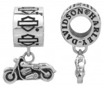 RIDE BEAD  Harley Davidson ®  and Mod ®  Sterling Silver  Dangling Motorcycle Charm  Does fit Pandora  ® - Product Image