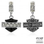 Ride Bead  Harley Davidson®  Sterling Silver  Bar & Shield  Logo  w/Crystals  Does fit Pandora  ® - Product Image