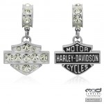 OUT OF STOCK  Ladies Ride Bead  Harley Davidson®  and MOD ®  in Sterling Silver  with Clear Crystals  Does fit Pandora  ® - Product Image