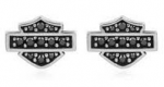 Women's Earrings  Harley-Davidson ®  in Sterling Silver  Black Bling Crystal  Made by Mod ® - Product Image