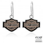 Harley Davidson ®/Mod ®  Silver and Copper Logo  Dangle Earrings - Product Image