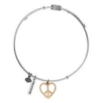 Harley-Davidson ®/Mod ®  Stainless Steel  Peace Heart  Ladies Legends Charm  Bangle Bracelet  - Product Image