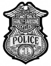 """Harley-Davidson® Police Patch #1 Badge 4"""" x 3"""" FREE SHIPPING - Product Image"""