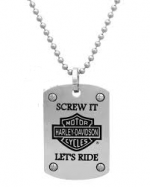 "CLOSE OUT PRICE  Harley-Davidson®  Stainless Steel  ""Screw It Let's Ride""  Dog Tag Necklace  by Mod® - Product Image"