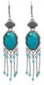 Harley-Davidson ®  Sterling Silver  Turquoise Dangle Earrings  by Mod Jewelry ® - Product Image